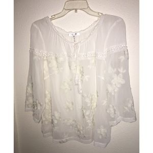 Flower Embroidered White Flowy Top